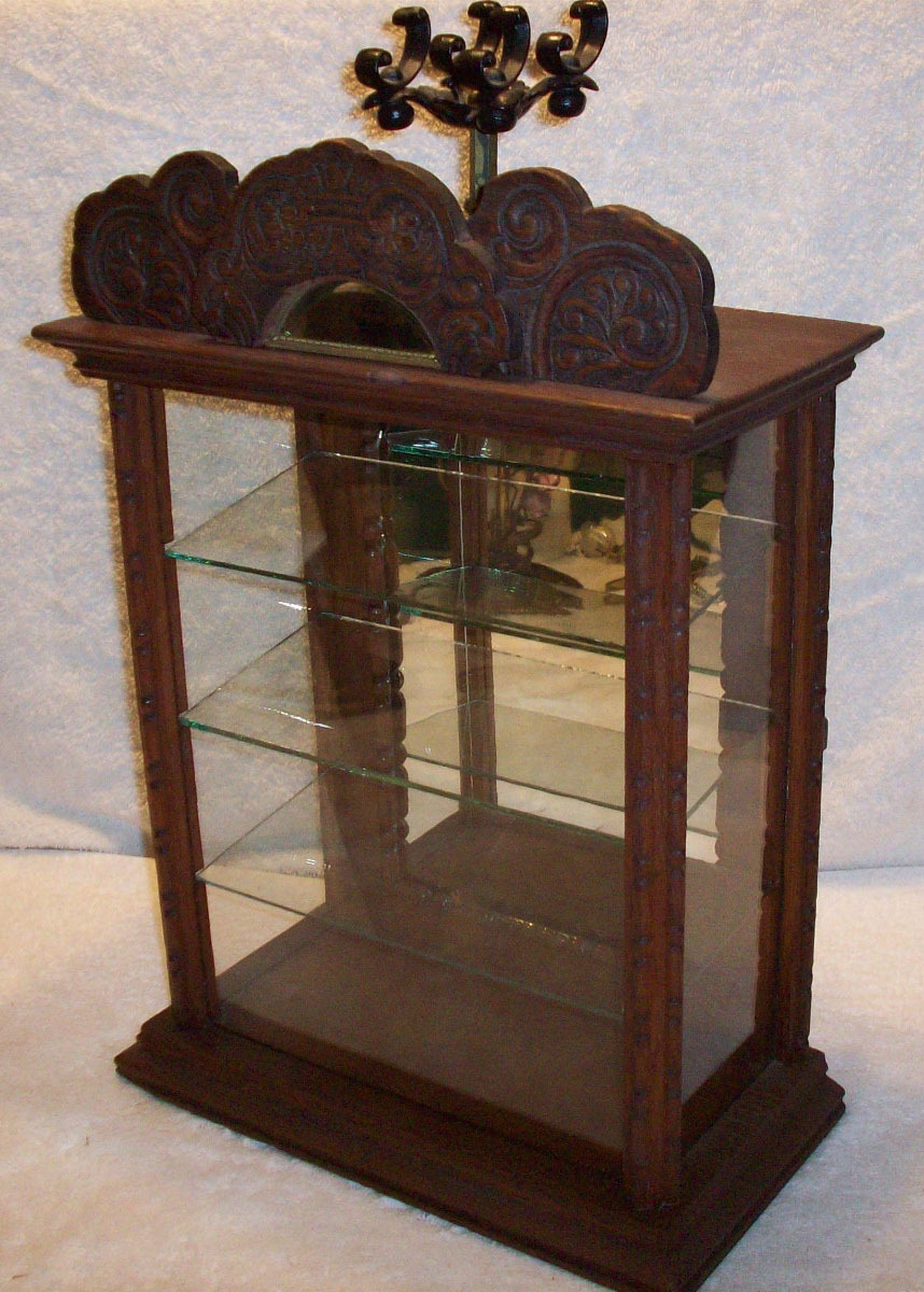 Antique Wood Counter Display Case From