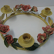 Vintage Italian PAINTED TOLEWARE Tole metal  ROSES Candleholder ring