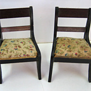"Antique doll house miniature Boule Biedermeier furniture 3/4"" scale chairs with floral pr"