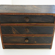 Antique German Kestner miniature doll house faux grain painted wood furniture chest