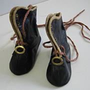 Antique French Fashion leather doll shoes boots with heels