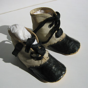 Antique large doll childs white canvas black leather shoes Boots