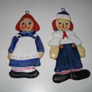 Raggedy Ann & Andy Christmas artist made wood ornaments