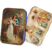 French antique Miniature Glass Bottles in Original beautiful litho Box