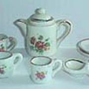 Antique miniature doll house pink floral tea set