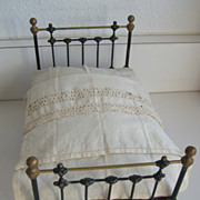 Antique Cast iron doll bed toy miniature furniture