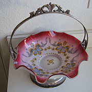 Antique Victorian Bride's Basket enamel glass sterling silver holder