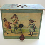 SOLD Antique paper litho small childs toy crank organ music box