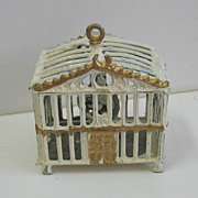 Antique Miniature Doll House white & gilt painted pewter bird cage