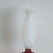 Vintage red & white glass doll house miniature lamp
