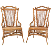 Victorian wicker pair of chairs made by the Wakefied Reed Chair Company