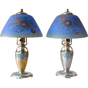 Moe-Bridges Co, Milwaukee matched pair of boudoir lamps with reverse painted shades in origina