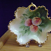 SALE Antique Handpainted Bon-Bon Dish with Peaches
