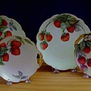 SALE Antique Limoges Bavaria Dessert Set decorated with Strawberries