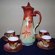 SALE Antique Limoge Handpainted Chocolate Set