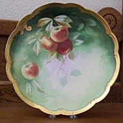 SALE Antique Limoge Charger with Peaches by Pickard Artist Heap