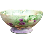 Limoges Hand Painted Fruit or Small Punch Bowl
