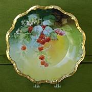 SALE Vintage Handpainted Plate with Raspberries by Brauer