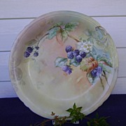 SALE Vintage Limoge Handpainted Charger decorated with Blackberries