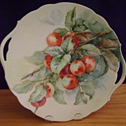 SALE Antique Limoges Handpainted Cake Plate Decorated with Cherries