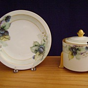 SALE Vintage Handpainted Mustard Container with Berries