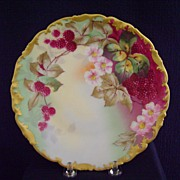 SALE Vintage Limoges Handpainted Plate Decorated with Raspberries