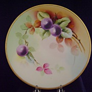 SALE Antique Limoges Handpainted Plate with Plums, Pitkin and Brooks