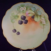 SALE Antique Handpainted Plate with Berries, Pickard Studios