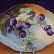 SALE Antique Limoges Handpainted Snack Plate decorated with Plums