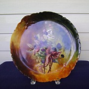 SALE Antique Limoges Handpainted Cake Plate Decorated with Blackberries