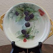 SALE Vintage Handpainted SIlesia Bowl with Blackberries