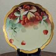 SALE Antique Pickard Handpainted Plate with Strawberries
