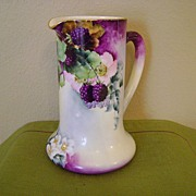 SALE Antique Limoges Handpainted Tankard Pitcher with Blackberries