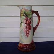 Vintage Limoges Handpainted Tankard Pitcher with Grapes