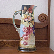 Antique Limoge Handpainted Tankard with Grapes