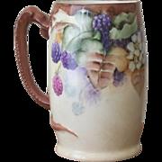 SALE Dragon handled handpainted Mug with Blackberries