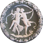 REDUCED Green Jasperware Wall Plaque With Dancing Lovers Couple