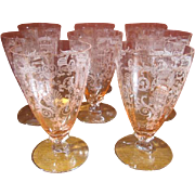 Set of 6 Fostoria Versailles Etched Pink Glasses