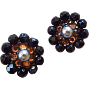 Eugene Crystal and Rhinestone Earrings with Simulated Pearls