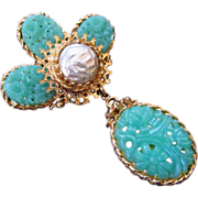 Corocraft Peking Glass & Simulated Baroque Pearl Brooch