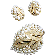 Trifari Simulated Pearl and Rhinestone Brooch and Earrings Set