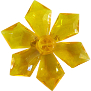 Big Yellow Lucite Flower Brooch West Germany