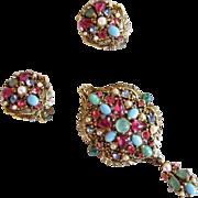 Hollycraft Pastel Rhinestone Brooch & Earrings Set