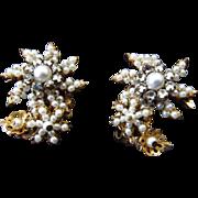 DeMario-Hagler Rose Montee Rhinestone & Simulated Pearl Earrings