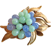 CoroCraft Blue and Green Glass Bead Brooch