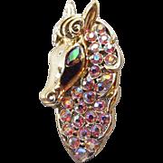 Coro Pink Aurora Borealis Horse Head Brooch