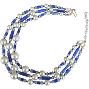 REDUCED Vintage Cobalt Blue Crystal Bead and Simulated Pearl Necklace