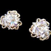 REDUCED Vendome Crystal Aurora Borealis Earrings in Gold Tone