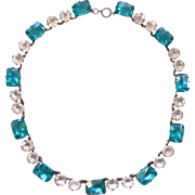 Art Deco Aqua and Clear Bezel Set Rhinestone Necklace in Sterling Silver