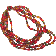 REDUCED Western Germany Lucite Bead Necklace Orange Red Green & Gold Colors